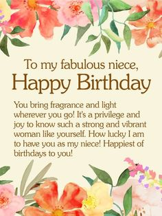 To my precious niece happy birthday wishes card bringing light to my fabulous niece happy birthday wishes card to strong and vibrant women to a niece full of beauty light and life this gorgeous floral birthday m4hsunfo