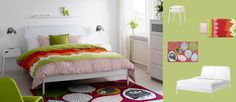 DUKEN white bed with SELJE white bedside tables and GULÖRT multicoloured rug/ Ava do you like?