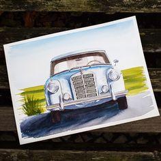 Еще одно задание в @kalachevaschool #watercolor #watercolour #aquarelle #art #car #mercedes #retro #auto #акварель #учусь