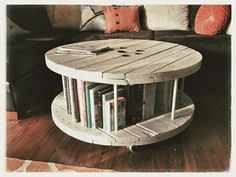 Spool Coffee Table--made out of a cable reel on Etsy, $200.00. I can get it in green or orange! Sized the way I want- like it.