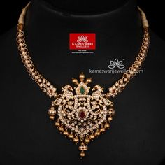 Traditional gold necklaces for women from the house of Kameswari. Shop for antique gold necklace, exquisite diamond necklace and more! Gold Jewelry Simple, Silver Jewelry, Indian Jewelry, Silver Earrings, Stone Jewelry, Pendant Jewelry, Diamond Necklace Set, Gold Necklace, Diamond Jewelry