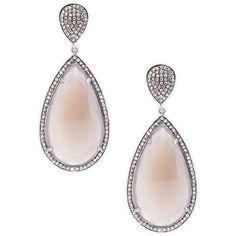 Bavna Diamond & Peach Moonstone Drop Earrings ($960) ❤ liked on Polyvore featuring jewelry, earrings, moonstone earrings, diamond earrings, diamond jewellery, teardrop jewelry and diamond drop earrings
