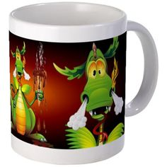 #Fun #Dragon #Cartoon with melted #Ice_Cream #Mugs - available #4sale on #Bluedarkart's #Cafepress #Shop    http://www.cafepress.co.uk/mf/103953481/fun-dragon-with-ice-cream_mugs?productId=1746435123  Fun, naughty Dragon Cartoon holding a Chocolate Ice Cream, thinking he could eat it, but his hot breath has melted it. The Dragon look very disappointed. Original Vector Graphic Art Copyright©Bluedark