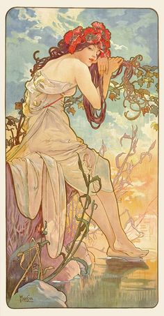 Art Nouveau artist Alphonse Mucha was a master of using nymph-like women to personify forces and elements of nature such as the seasons of the year.The perfect gift for jigsaw puzzlers, fans Art Nouveau and Mucha paintings, this traditional adul. Art Nouveau Mucha, Alphonse Mucha Art, Art Nouveau Poster, Art Nouveau Disney, Art And Illustration, Art Amour, Inspiration Art, Arte Pop, Art Design