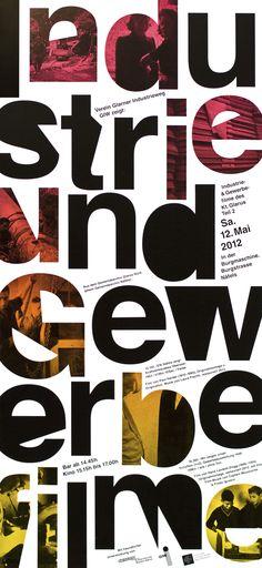 """industrie- & gewerbefilme"" by babyinktwice / switzerland, 2012 / letterpress, 255 x 560 mm, <br> see production video:  <br> <a href=""https://vimeo.com/42302702"" target=""_blank>https://vimeo.com/42302702</a>"