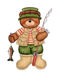 cartoon bear in fishing clothes Cartoon Fish, Bear Cartoon, Bear Fishing, Going Fishing, Country Bears, Bear Crafts, Cute Clipart, Cute Teddy Bears, Tatty Teddy