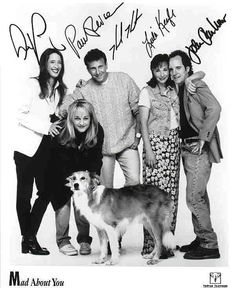 Mad About You (1992-1999, NBC) l-r: Anne Ramsay, Helen Hunt, Paul Reiser, Leila Kenzle  John Pankow - and Murray the dog