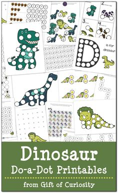20 pages of free Dinosaur Do-a-Dot Printables. Great activities for kids ages 2-6 to work on shapes, colors, numbers, and letters. Love the graphics in this cute dinosaur pack! || Gift of Curiosity