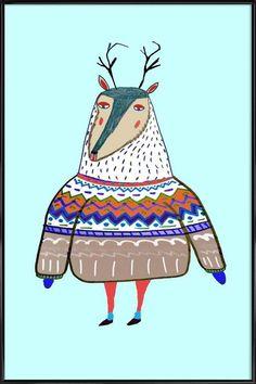 Deer en Affiche sous cadre standard par Ashley Percival   JUNIQE