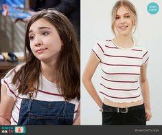 Riley's striped tee on Girl Meets World.  Outfit Details: https://wornontv.net/59933/ #GirlMeetsWorld