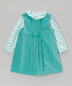 Take a look at this Aqua Bow Jumper & Floral Top on zulily today!