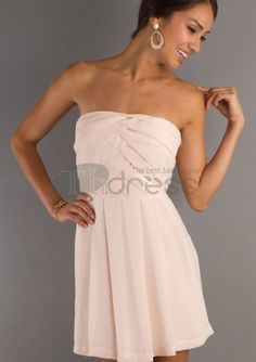 Graduation Dresses-Chiffon Strapless Semi Graduation Dresses