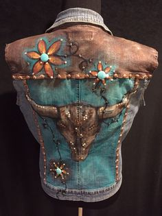 Custom order. Hand painted denim vest. Retro cow skull.