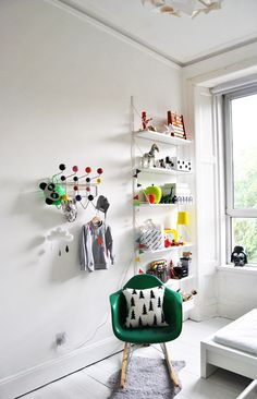 White & Bright Kid's Room Toy Shelves | from A Merry Mishap blog | House & Home