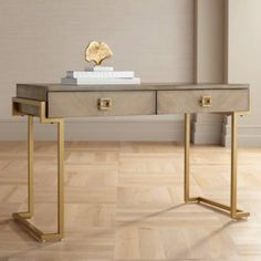 Wheaton Gold Accents and Wood 2-Drawer Writing Desk - #46V94 | Lamps Plus