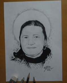Portrait with pencil drawing by Blaze
