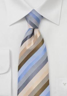 Krawatte Streifendessin champagner grau himmelblau