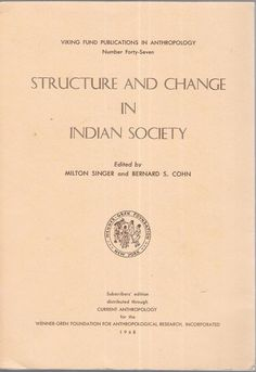 Structure and Change in Indian Society 1968 Paperback Edition