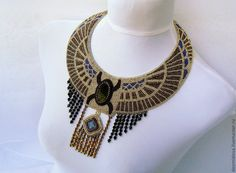 """Купить Колье """"Scarabeus sacer"""" - Священный Скарабей. - колье, бисер, вышивка, египетское колье, фараон"""
