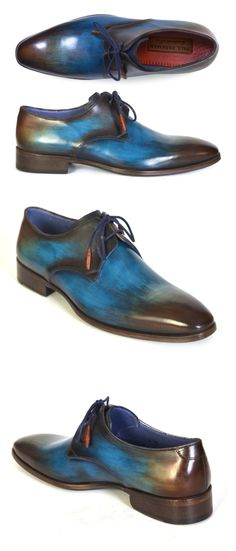 PAUL PARKMAN MEN'S BLUE & BROWN HAND-PAINTED DERBY SHOES