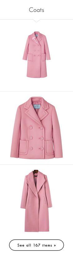 """Coats"" by sakuragirl ❤ liked on Polyvore featuring outerwear, coats, jackets, coats & jackets, pink coat, prada, red coats, abrigos, pink and shawl collar coats"