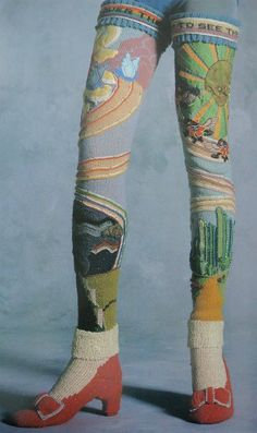 Wizard-of-Oz-inspired thigh high socks with ruby red heels - Long wool socks