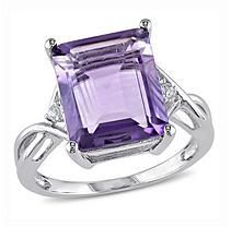 5.91 ct. Emerald Cut Amethyst and White Topaz Cocktail Ring in Sterling Silver 7.5