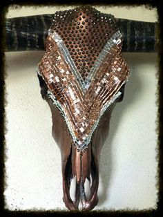 Custom longhorn cow skull copper, mirror and charcoal rhinestones. Created by Desiree Rodgers on Facebook at WesTique Desi-gns.