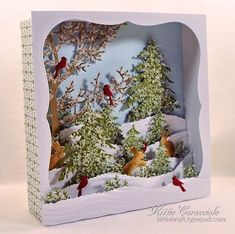KC Impression Obsession Tree Frame - Candy Box Winter Scene Diorama could use old christmas cards. Christmas Projects, Holiday Crafts, Vintage Christmas, Christmas Holidays, Christmas Decorations, Christmas Ornaments, Christmas Shadow Boxes, Shadow Box Art, Theme Noel