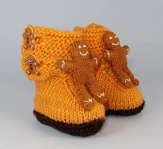 Instant Digital pdf download knitting pattern- Baby Gingerbread Man Booties (Bootees) knitting pattern pdf download by madmonkeyknits