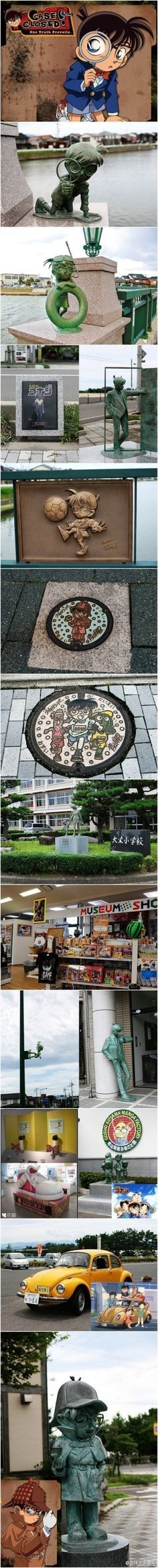 """Conan town, Tottori Prefecture in Japan, is a small town facing the Sea of Japan, is the author Aoyama Gang Chang hometown. You can walk around the town and see the figure of Conan everywhere. Conan Avenue, Conan Bridge, even road signs, signs, bronze reliefs, covers are all with Conan as the theme. It is the world's """"Conan fans"""" pilgrimage!"""