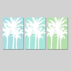 Modern Palm Tree Silhouette Trio  Set of Three Large by Tessyla, $69.50