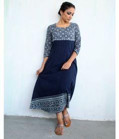 Blue Block-printed Cotton Dress with Asymmetrical Hem