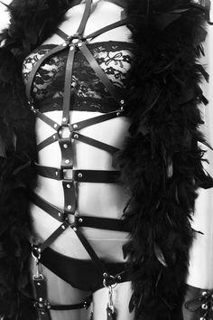 Black Leather Full Body Harness leg harness  by blackmotifa, $450.00