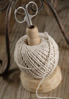 Wood Spindle with Ball of Cotton Cording & Scissors $9 - this is one that you can purchase, but I don't think it would be hard to make something like this on one's own! For those crafters in your life :)
