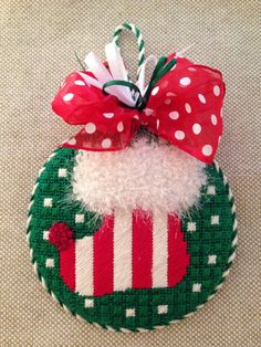Stocking Ornament ~ canvas by Melissa Shirley