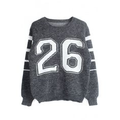 Round Neck Long Sleeve Letter Print Stripe Trims Sweater (1.415 RUB) ❤ liked on Polyvore featuring tops, sweaters, round neck sweater, long sleeve sweaters, long sleeve tops, letter sweater and round neck top