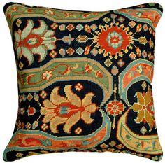 Afshar Floral Needlepoint Pillow - ThrowMeAPillow