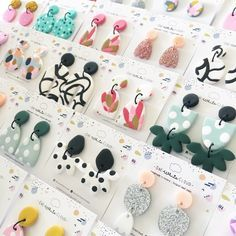 Polymer Clay Flowers, Fimo Clay, Polymer Clay Projects, Polymer Clay Beads, Handmade Polymer Clay, Diy Clay Earrings, Clay Design, Bijoux Diy, Clay Creations