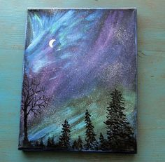 paint night ideas | Magical Night Sky Painting northern lights aurora by outofthedoor