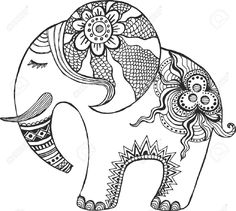 Illustration of Indian elephant painted by hand. vector art, clipart and stock vectors. Elefante Hindu, Elephant Coloring Page, Elephant Colour, Zen Colors, Madhubani Art, Coloring Book Pages, Mandala Art, Doodle Art, Art Lessons