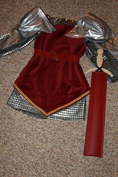 "Handmade Knight Costume - includes ""chainmail"" shirt, tunic, belt, shoulder armor, sword sheath, boot covers and helmet."