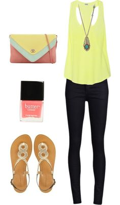 Pastel yellow tank top + black skinny jeans + silver sandals + color blocked purse + peacock feather necklace