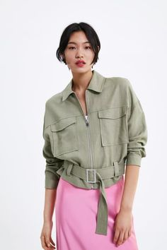 ZARA - Female - Belted cropped jacket - Light khaki - S Safari Look, Moda Zara, Slip Skirts, Jeans Denim, Girls Wardrobe, Going Out Tops, Blazers, Girl Fashion, Womens Fashion