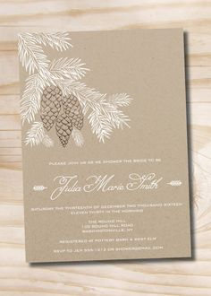 RUSTIC PINECONE FIR Shower Invitation    Perfect shower invitation for the winter bridal showers and baby showers.    >>> HOW IT WORKS <<<