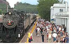 The train station at Williams, Arizona.  Take a trip on the Grand Canyon Railway.