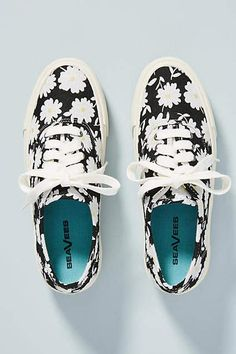 See this SeaVees Embroidered Legend Sneakers from Anthropologie. Black Slip On Sneakers Outfit, Casual Shoes, Fashion Boots, Sneakers Fashion, Embroidered Vans, Only Shoes, Types Of Shoes, Summer Shoes, Keds