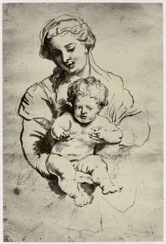 Philip Henry Delamotte | Rubens, His Wife and Child, Philip Henry Delamotte, T. Frederick Hardwich, Bell & Daldy, 1855 - 1858 | Fotoreproductie van tekening in 'The Reveley Collection of Drawings at Brynygwin', afb. 6.