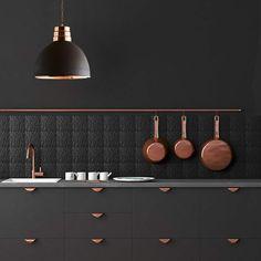 Image result for black rose gold kitchen