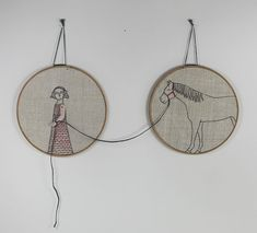 hand+embroidery+hoop+art++girl+and+her+horse+by+MarysGranddaughter,+$280.00